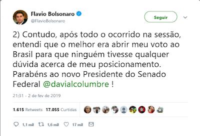 Flávio Bolsonaro declara seu voto no Twitter