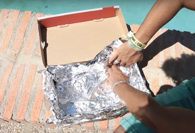 forrar, caja, papel, aluminio