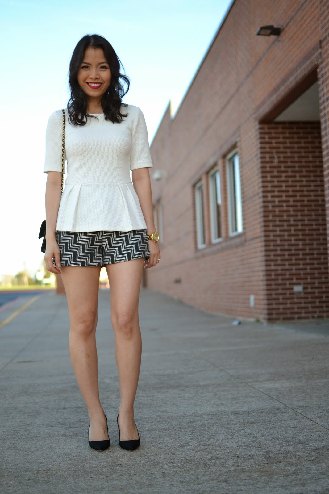 f7aef504048 Style and Cappuccino   Short   Sweet  Patterned Shorts   Black Pumps
