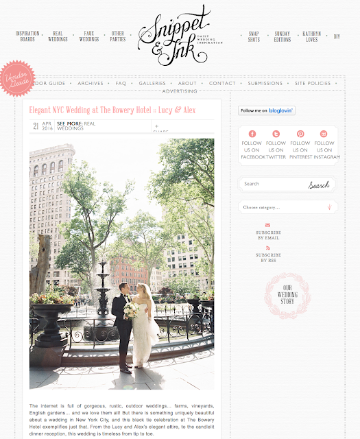 Featured Wedding, Snippet and Ink, Bowery Hotel