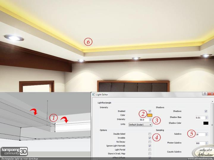 Rectangular light for cove ceiling in vray sketchup 1 49