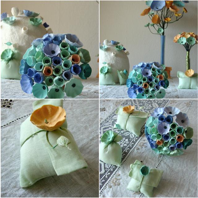 matrimonio Green: Bouquet di carta  e sacchetti in lino dipinti a mano