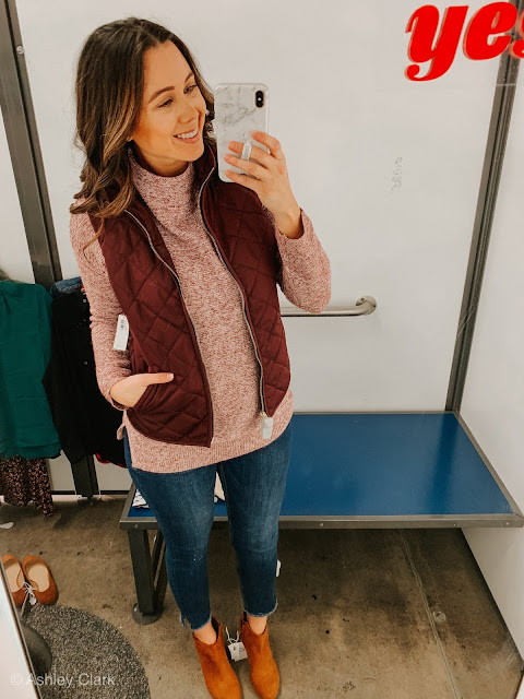 red tunic sweater cranberry vest rockstar jeans brown booties old navy