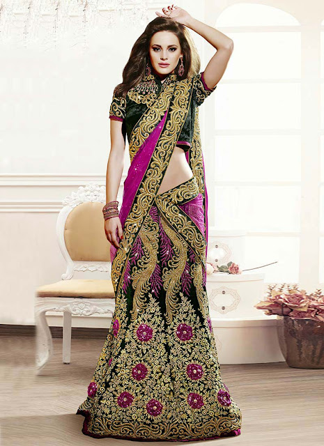 Ideal Green Velvet Lehenga Choli