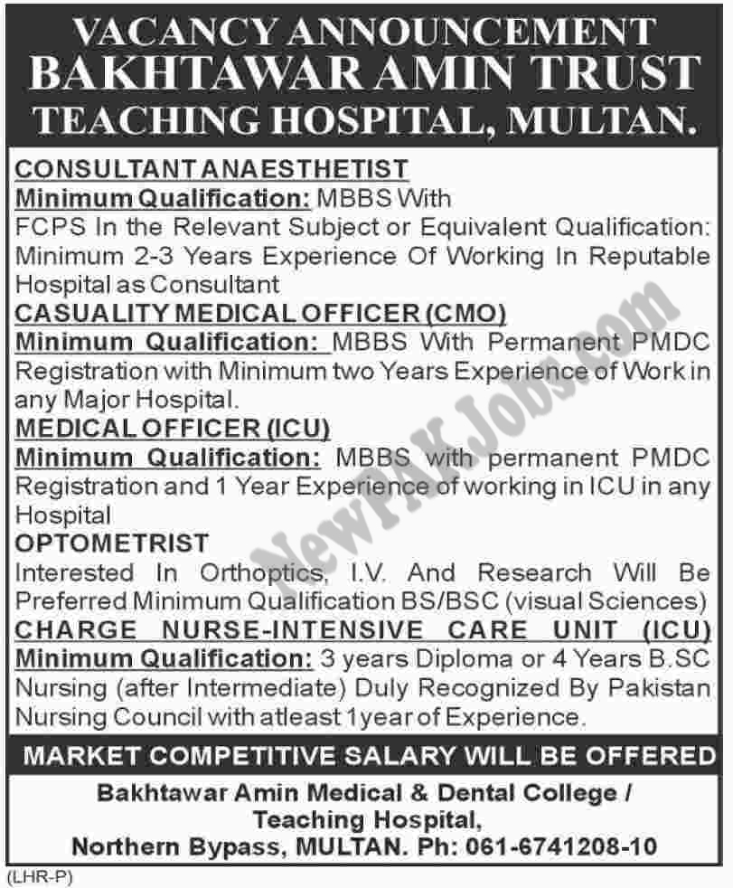 Latest Fesh Jobs in Bakhtawar Amin Medical and Dental College Today