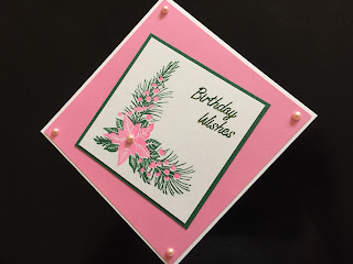 birthday card with poinsettia layered stamp in pink and green