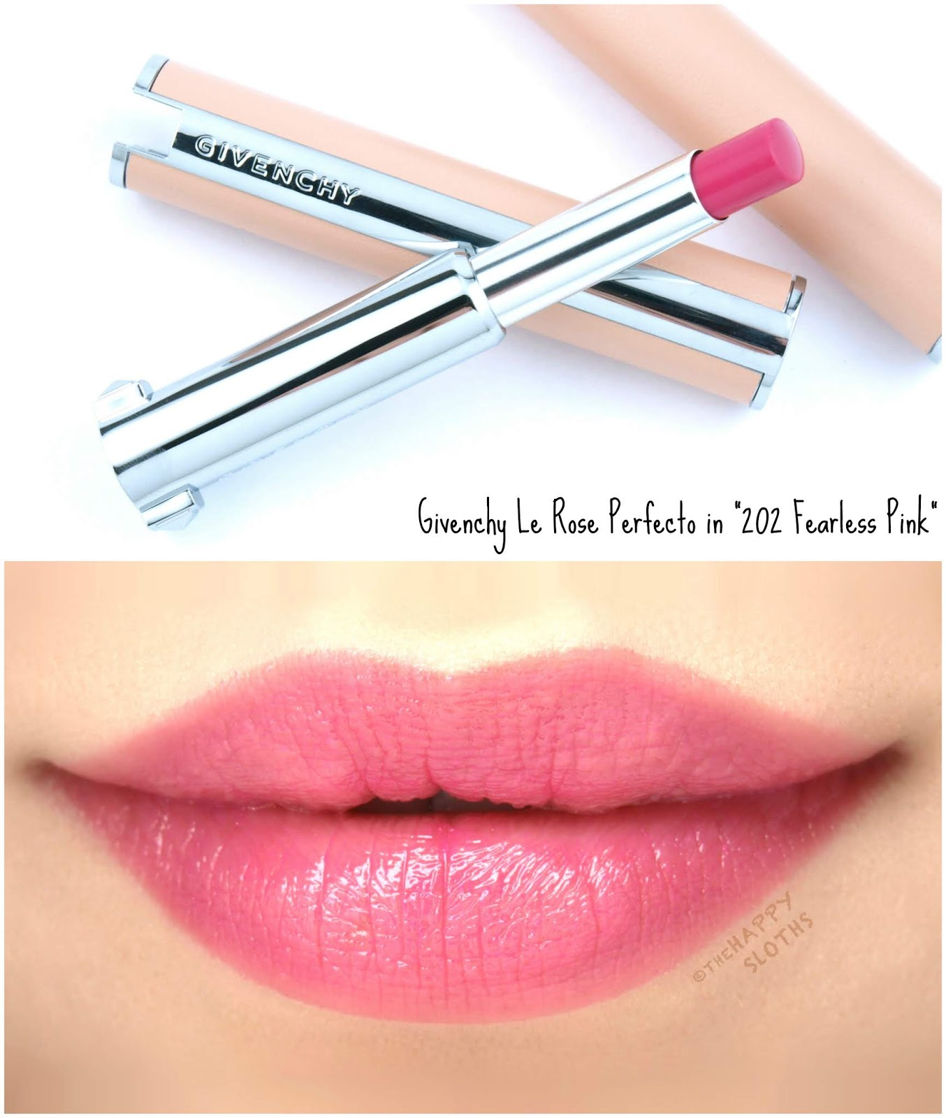 "Givenchy | Le Rose Perfecto Beautifying Lip Balm in ""202 Fearless Pink"": Review and Swatches"
