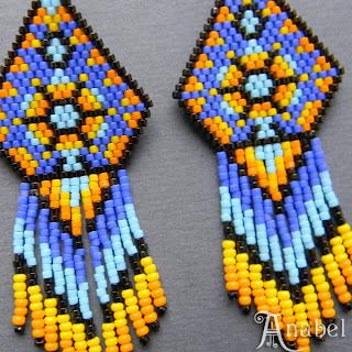 купить яркие сережки из бисера индейские украшения ручной работы куплю