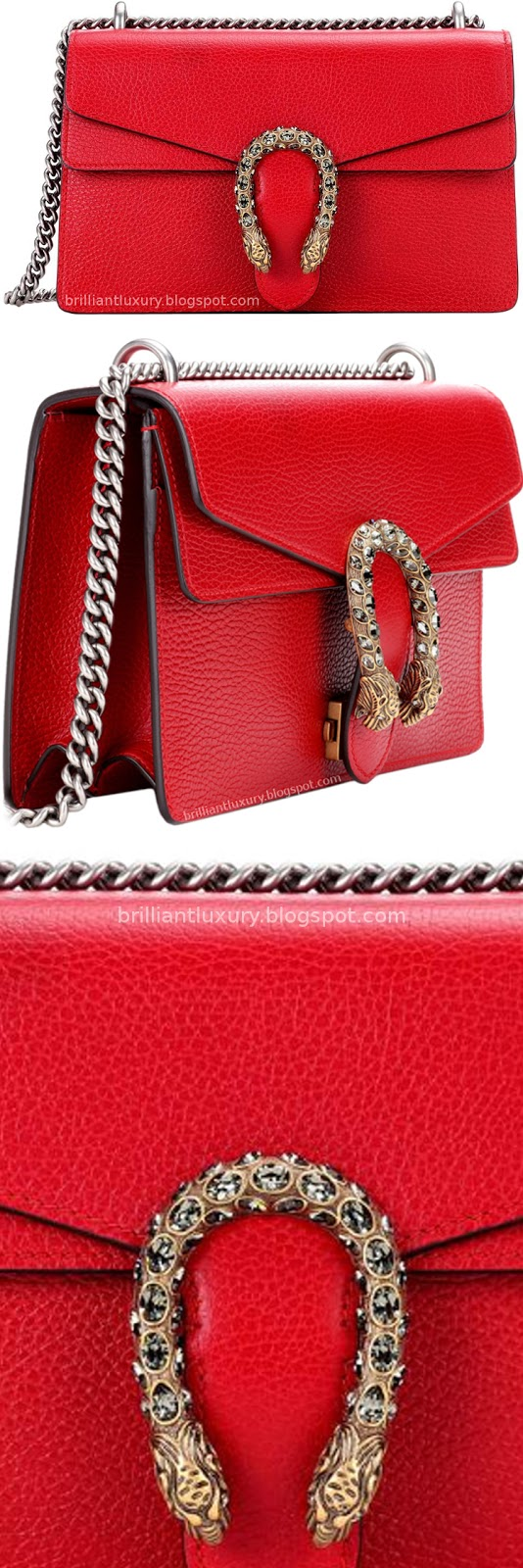 Brilliant Luxury ♦ Gucci Dionysus red leather shoulder bag