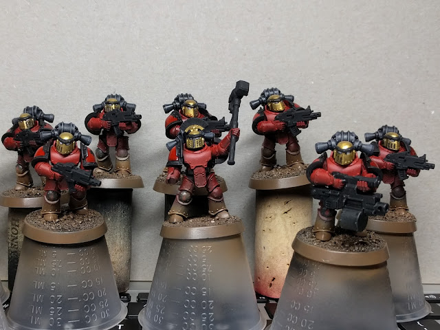 Marines with the bases painted and black added.