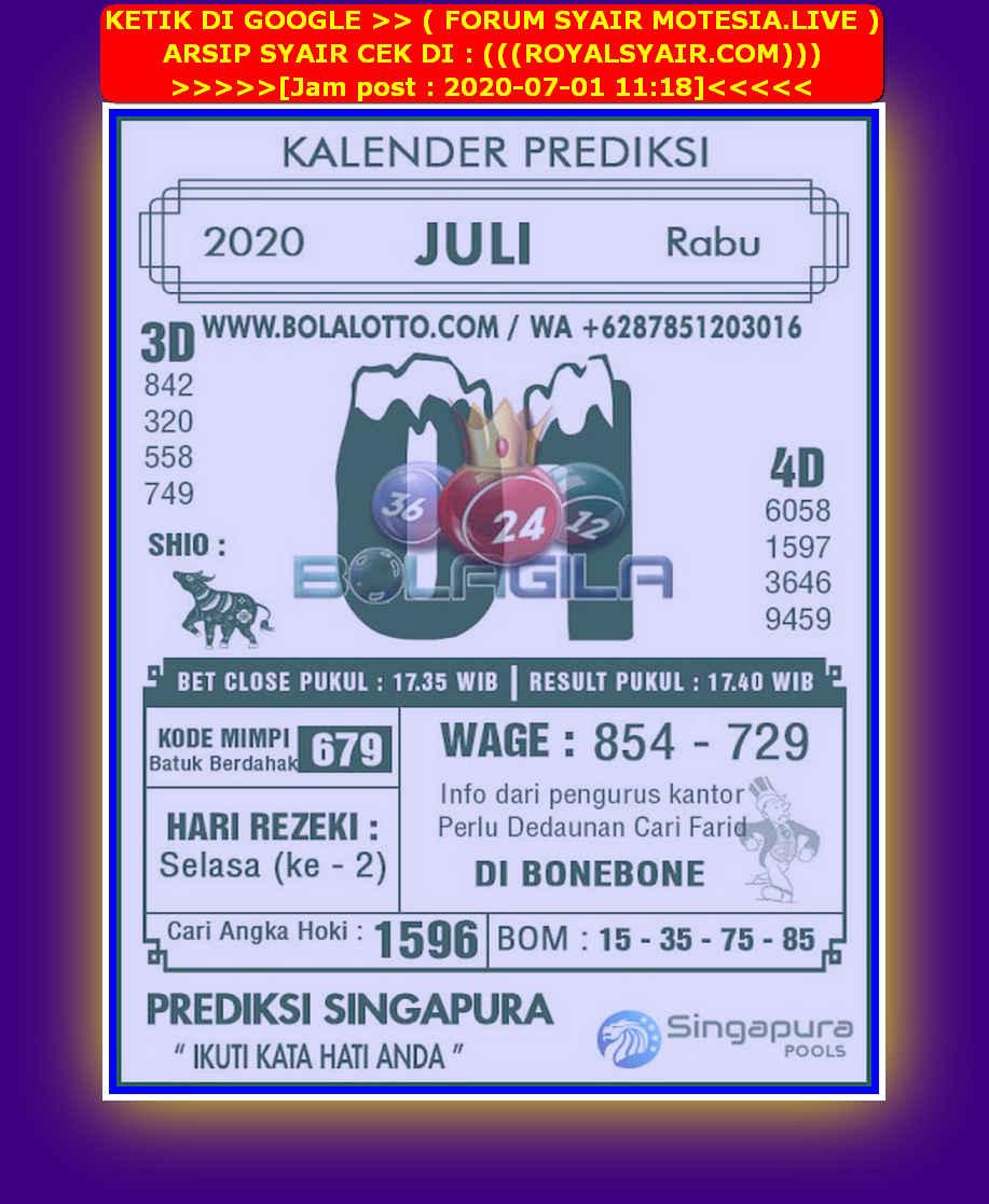 Kode syair Singapore Rabu 1 Juli 2020 155