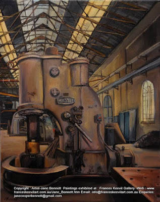 oil painting of Blacksmiths forge Eveleigh Railway Workshops by artist Jane Bennett