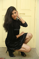 Mounika in a velvet short black dress for Tick Tack Movie Press Meet March 2017 046.JPG
