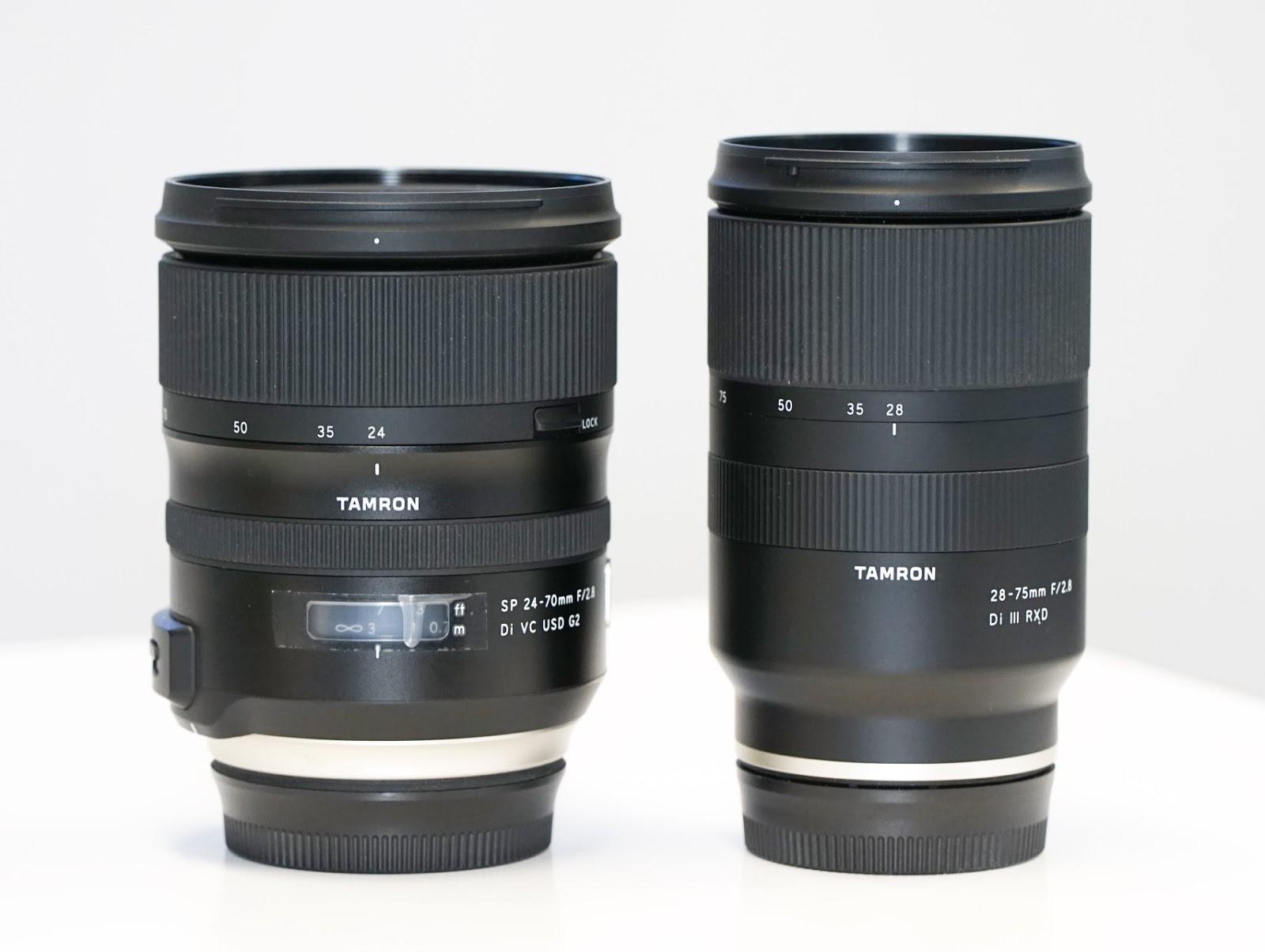 Сравнение габаритов Tamron SP 24-70mm f/2.8 Di VC USD G2 (слева) и Tamron 28-75mm f/2.8 Di III RXD (справа)