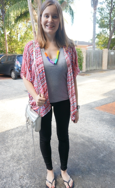 SAHM BBQ dinner outfit: grey tee, skinny jeans red kimono teething necklace | AwayFromBlue Blog