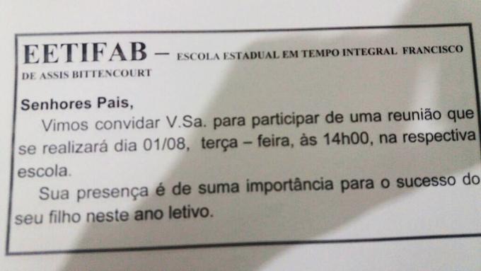 Direção da Escola Estadual Francisco de Assis Bittencourt avisa: Nesta terça(01), haverá reunião com os Pais dos alunos na Escola as 14hrs.
