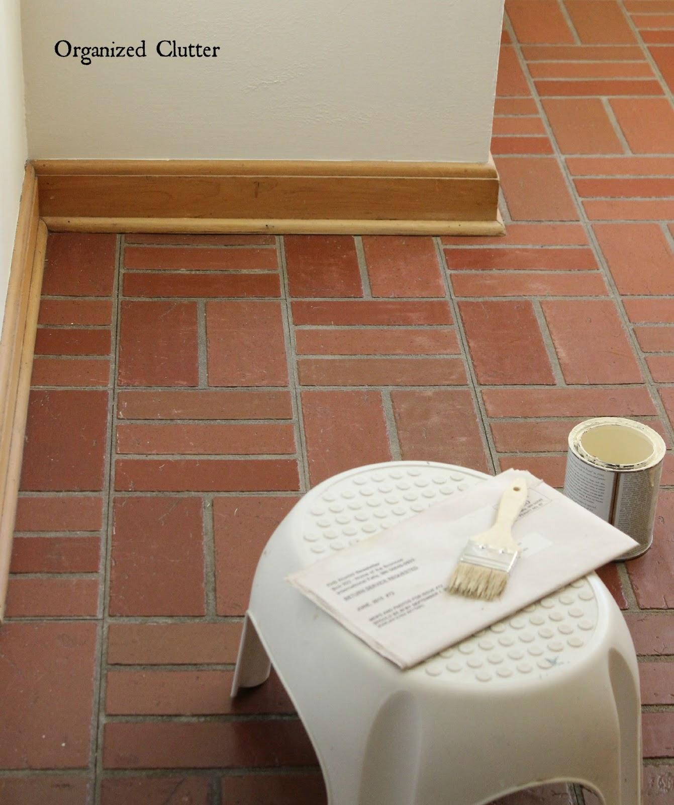 Painted Parquet Kitchen Floor: Chalk Painted Vinyl Tiles