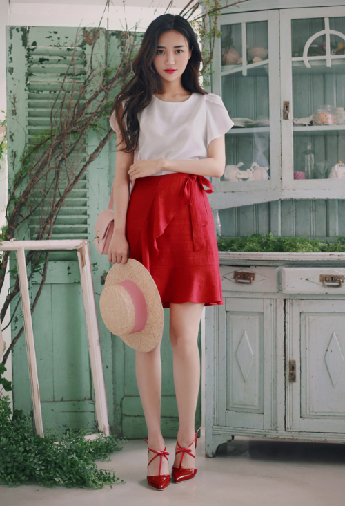 Wrap Ribbon Flared Skirt