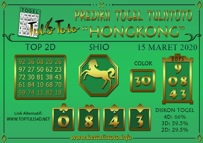 Prediksi Togel HONGKONG TULISTOTO 15 MARET 2020