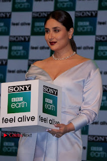 Bollywood Actress Kareena Kapoor Stills in Beautiful Silk Long Dress at Sony BBC Earth New Channel Launch  0008.jpg