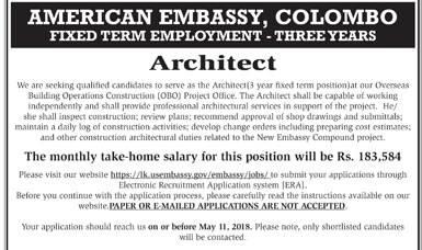 Vacancies in American Embassy, Colombo