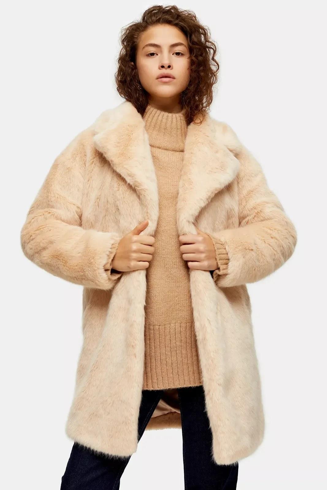 Luxe Nude Faux Fur Coat