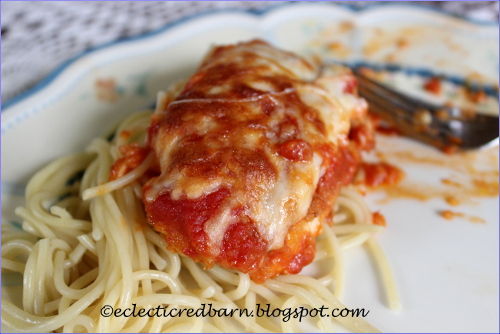 Eclectic Red Barn: Easy Chicken Parmesan with Spaghetti