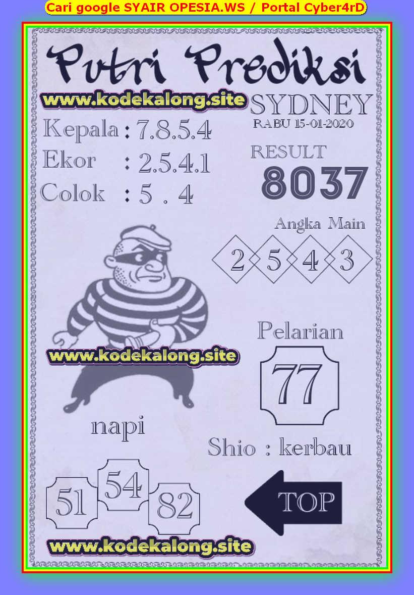 Kode syair Sydney Rabu 15 Januari 2020 72