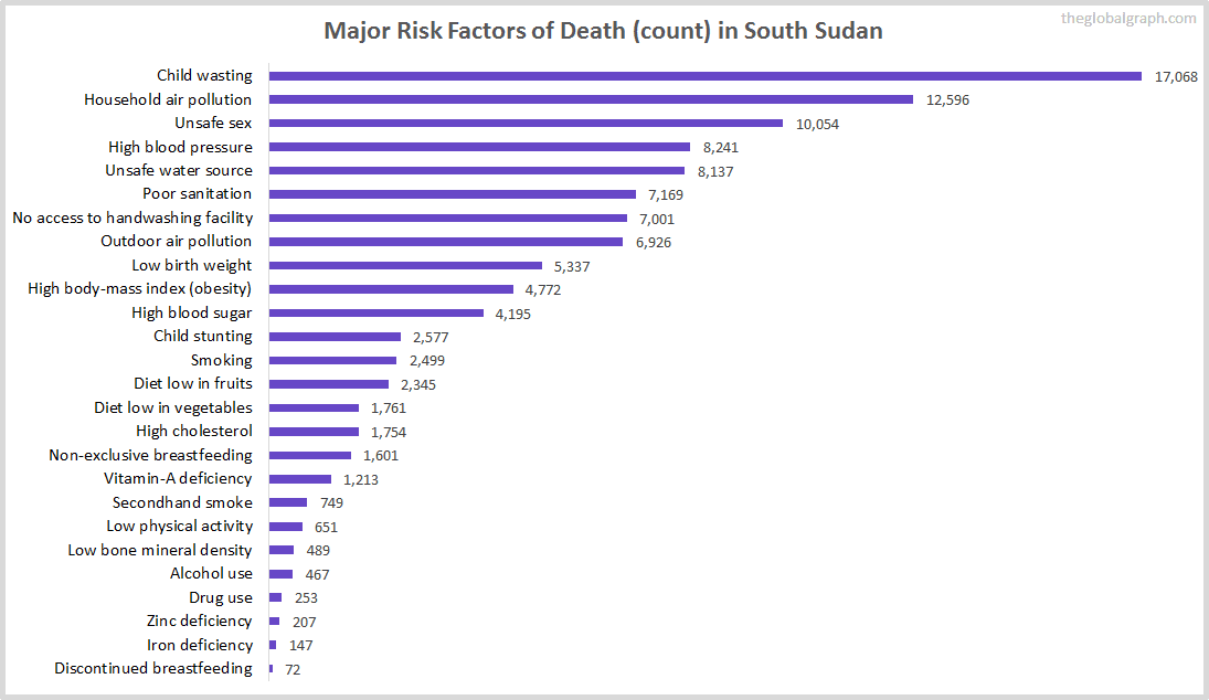 Major Cause of Deaths in South Sudan (and it's count)