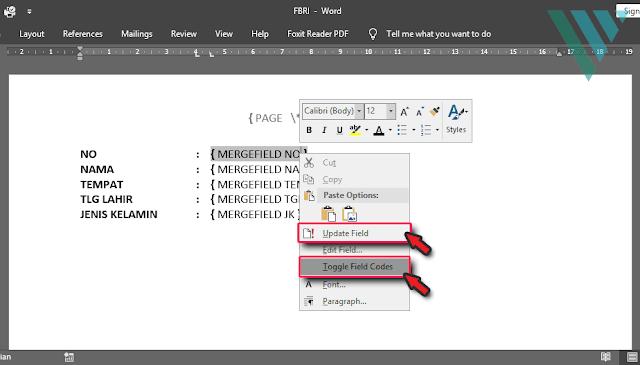 Cara Mengatasi {PAGE \* MERGEFORMAT} dan {MERGEFIELD} pada Ms. Word