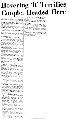 Hoverig 'It' Terrifies Couple Heading Here - The Las Vegas Daily Optic  11-6-1957
