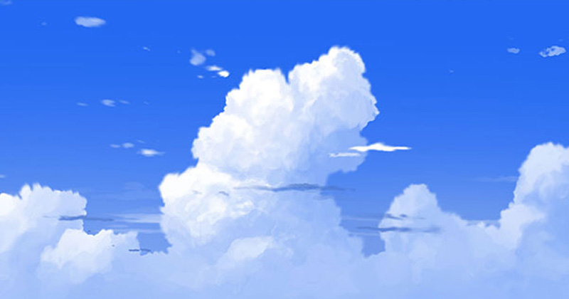 anime cumulus cloud painting