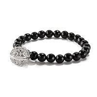 "LISA HOFFMAN FOR ORIGAMI OWL BLACK ONYX BEAD BRACELET 7"" WITH SILVER FRAGRANCE PENDANT available at StoriedCharms.com"