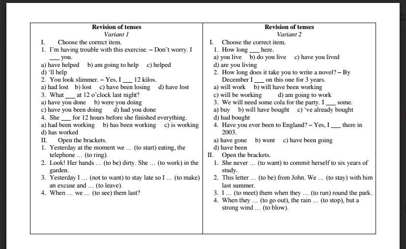 English Tenses Exercises Pdf