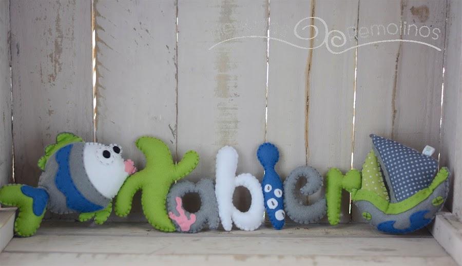 Nombre decorativo para bebé Pez y Barco de fieltro