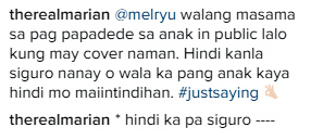 Marian Rivera Answers Back At Netizen Who Bashed Her For Breastfeeding In Public