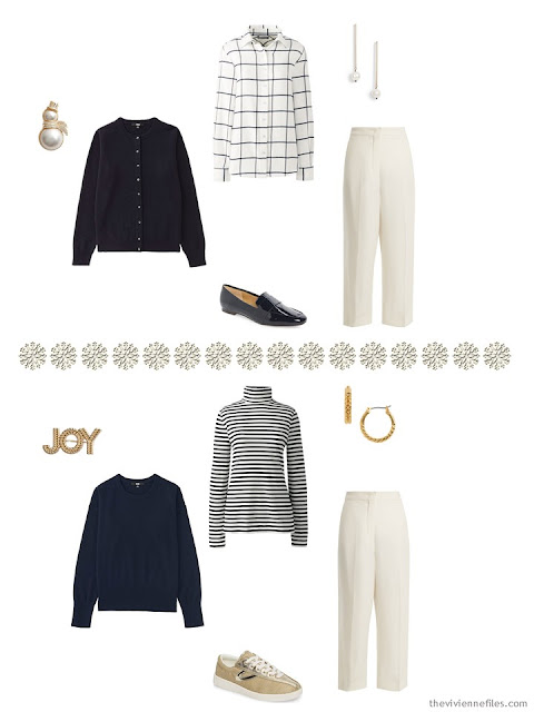 2 ways to wear winter white pants with navy