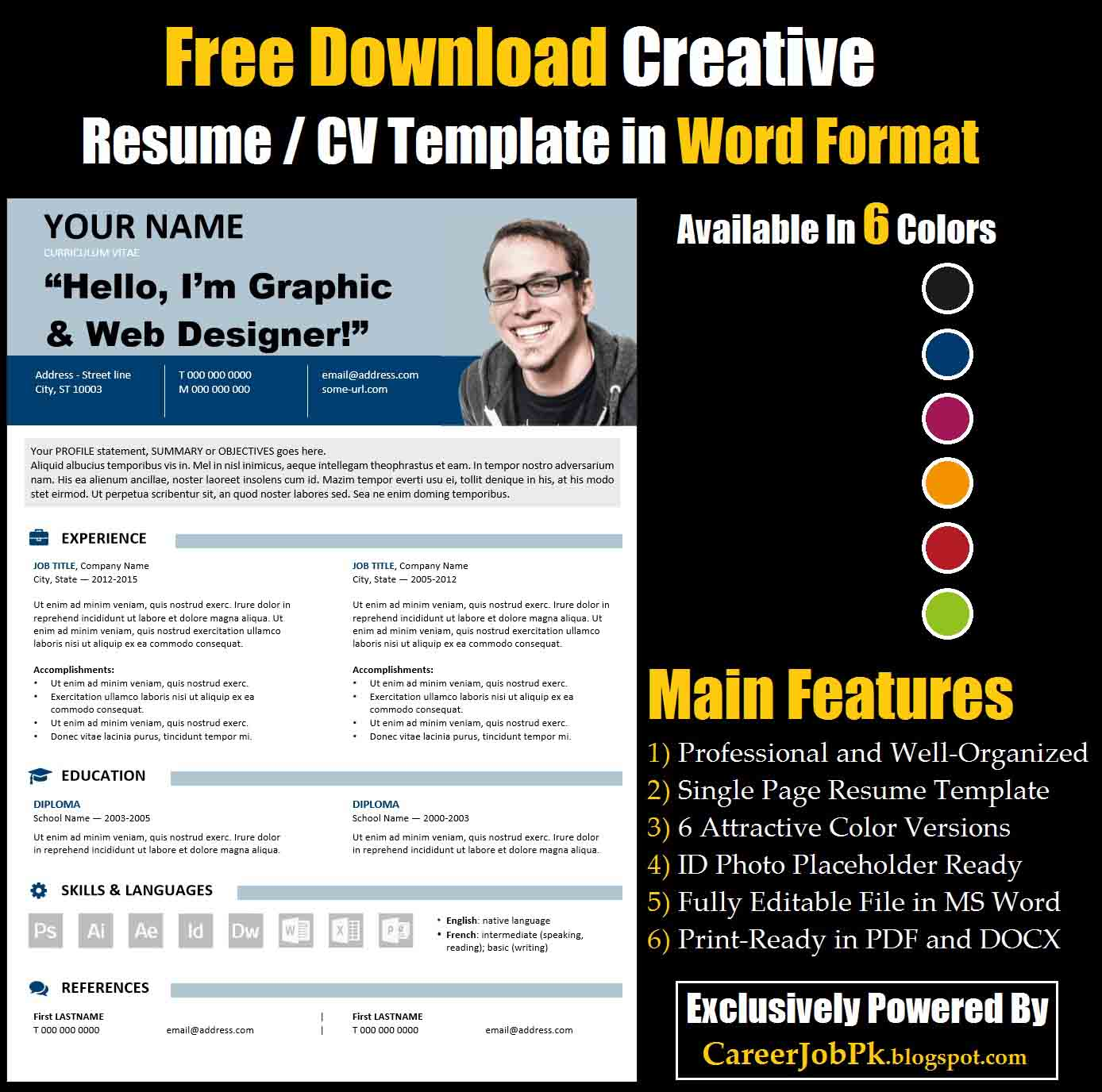Resume format download in ms word microsoft word diary template to free download editable resume cv template in ms word format free download creative resume cv templates yelopaper Images