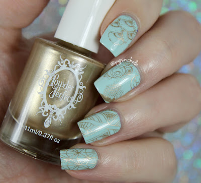 Wet 'n' Wild Kiss My Mints + Powder Perfect golden stamping | Powder Perfect Art Deco Stamping Plate