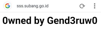 Penampakan Gend3ruw0 Di Laman Resmi Pemerintah Subang