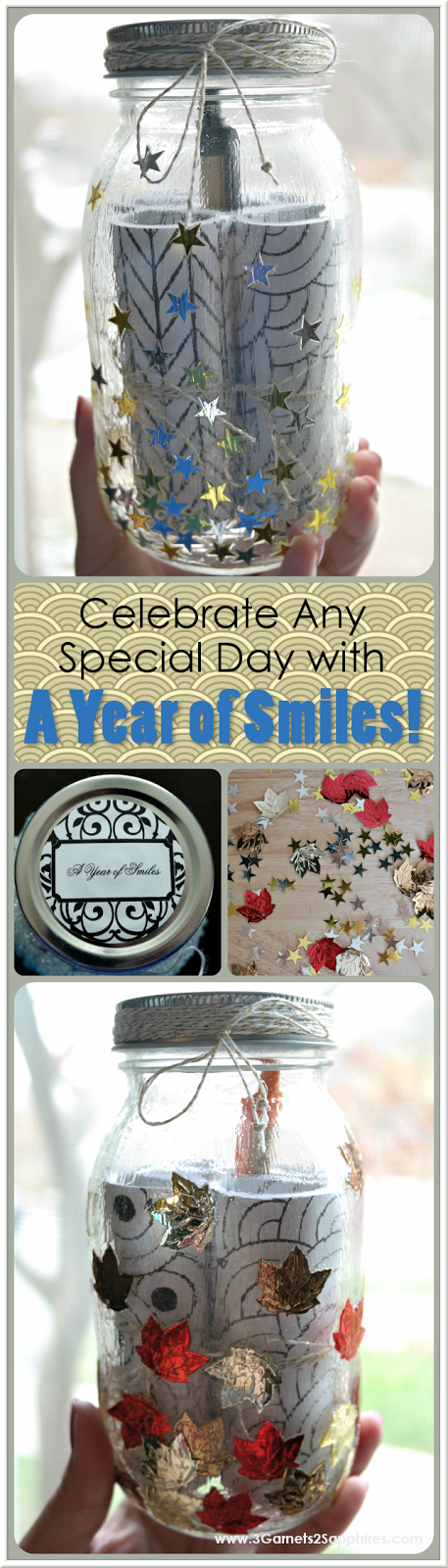 DIY 'A Year of Smiles' Beaded Mason Jar Gift How-To  |  3 Garnets & 2 Sapphires