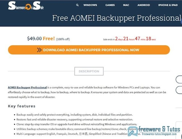 Offre promotionnelle : AOMEI Backupper Pro 3.2 gratuit !