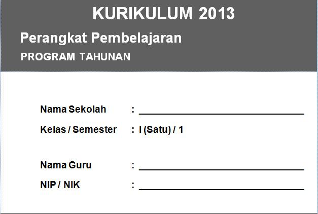 Program Tahunan Kurikulum 2013 SD Kelas 1