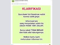 Hoax Ustadz Suratman Korban Pengeroyokan Kader GMBI Meninggal Dunia