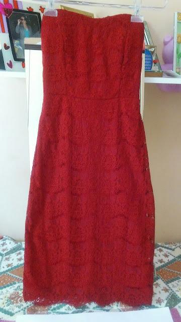 Vestido de Renda Forever 21 Vermelho