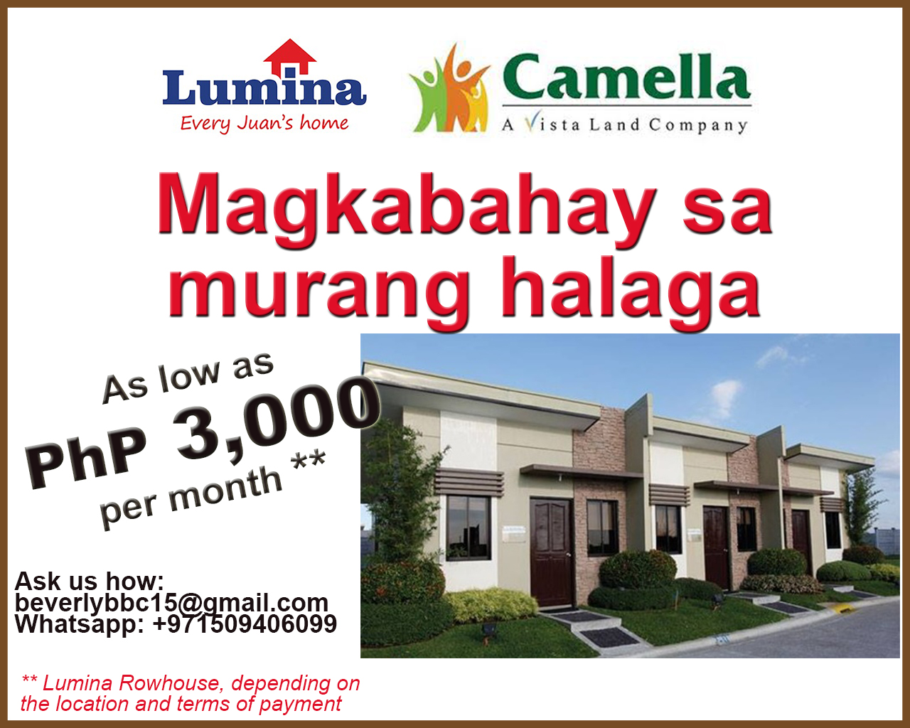 Camella and lumina homes quick reference disyerto for Home builders price list