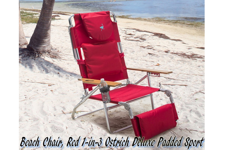 Red Ostrich Deluxe Padded Sport 3-in-1 Beach Chair, Ostrich Beach Chair, Ostrich Chaise, Ostrich  Folding Chaise Chairs, Beach chairs, Folding Beach Chairs, Ostrich Beach Folding Chair, Patio Furniture, Outdoor Furniture,