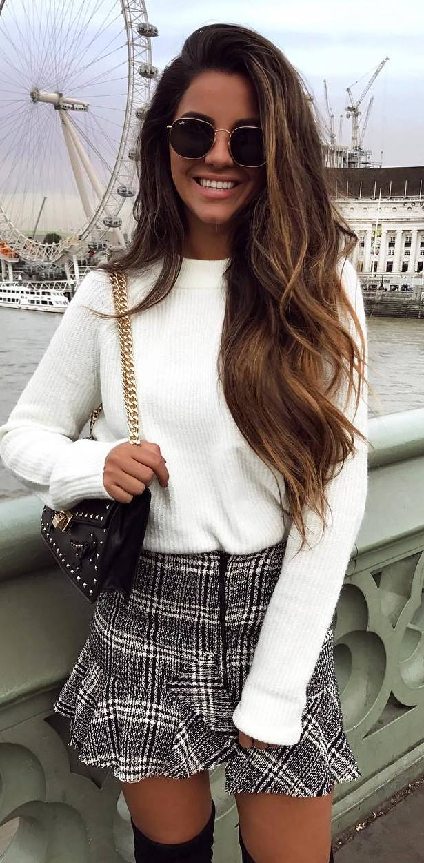 what to wear with a plaid skirt : white sweater + bag + over knee boots
