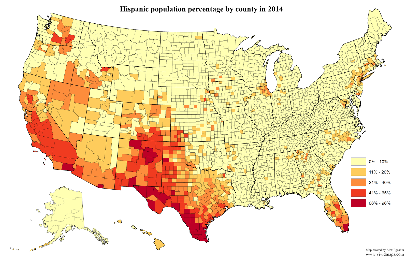 Hispanic population percentage by county