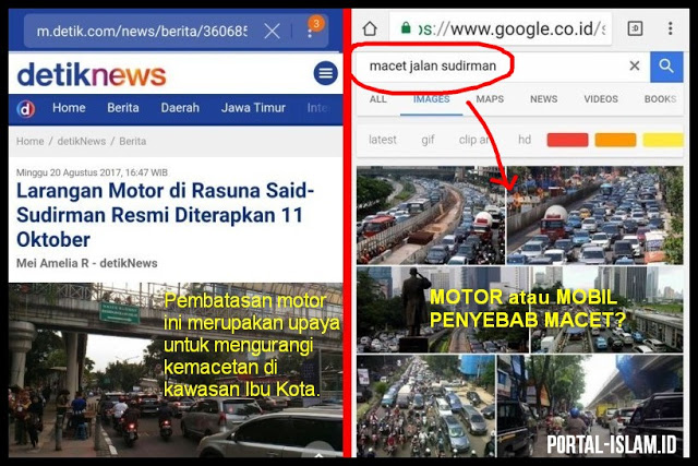 Larangan Motor Di DKI, Motor Atau Mobil Penyebab Macet? Ternyata Hasil Googling...